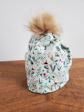 Load image into Gallery viewer, Misty green with spring branches Stretch Knit Pom Pom Hat