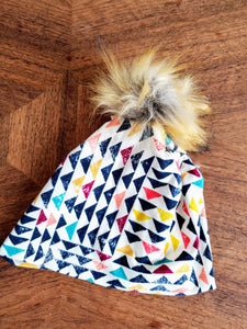 Cream with multi colored geometrics Stretch Knit Pom Pom Hat
