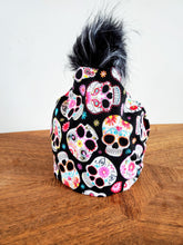 Load image into Gallery viewer, Sugar Skulls Stretch cotton knit hat with snap off pompom. Easy wash, comfy wear