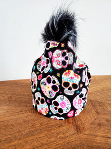 Sugar Skulls Stretch cotton knit hat with snap off pompom. Easy wash, comfy wear