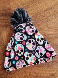 Sugar Skulls Stretch Knit Pom Pom Hat