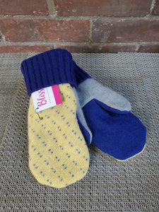 Wool Sweater Mittens - French Blue and Yellow