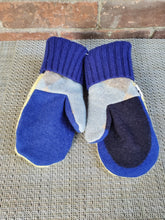 Load image into Gallery viewer, Wool Sweater Mittens - French Blue and Yellow