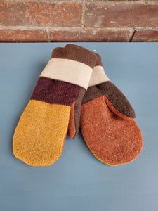 Wool Sweater Mittens - Earth Colors