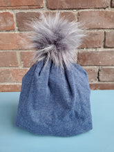 Load image into Gallery viewer, Solid Navy Blue Stretch Knit Pom Pom Hat