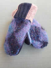 Load image into Gallery viewer, Wool Sweater Mittens - Mohair with blues and patterned cuff