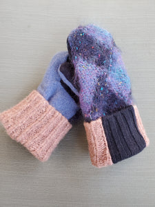Wool Sweater Mittens - Mohair with blues and patterned cuff