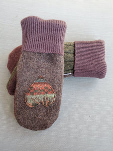 Wool Sweater Mittens - Chocolate Hearts