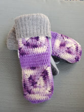 Load image into Gallery viewer, Wool Sweater Mittens - Purple crochet blanket