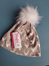 Load image into Gallery viewer, Light Grey Mini Stag Stretch Knit Pom Pom Hat