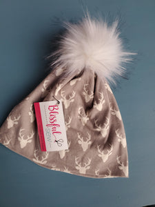 Light Grey Mini Stag Stretch Knit Pom Pom Hat