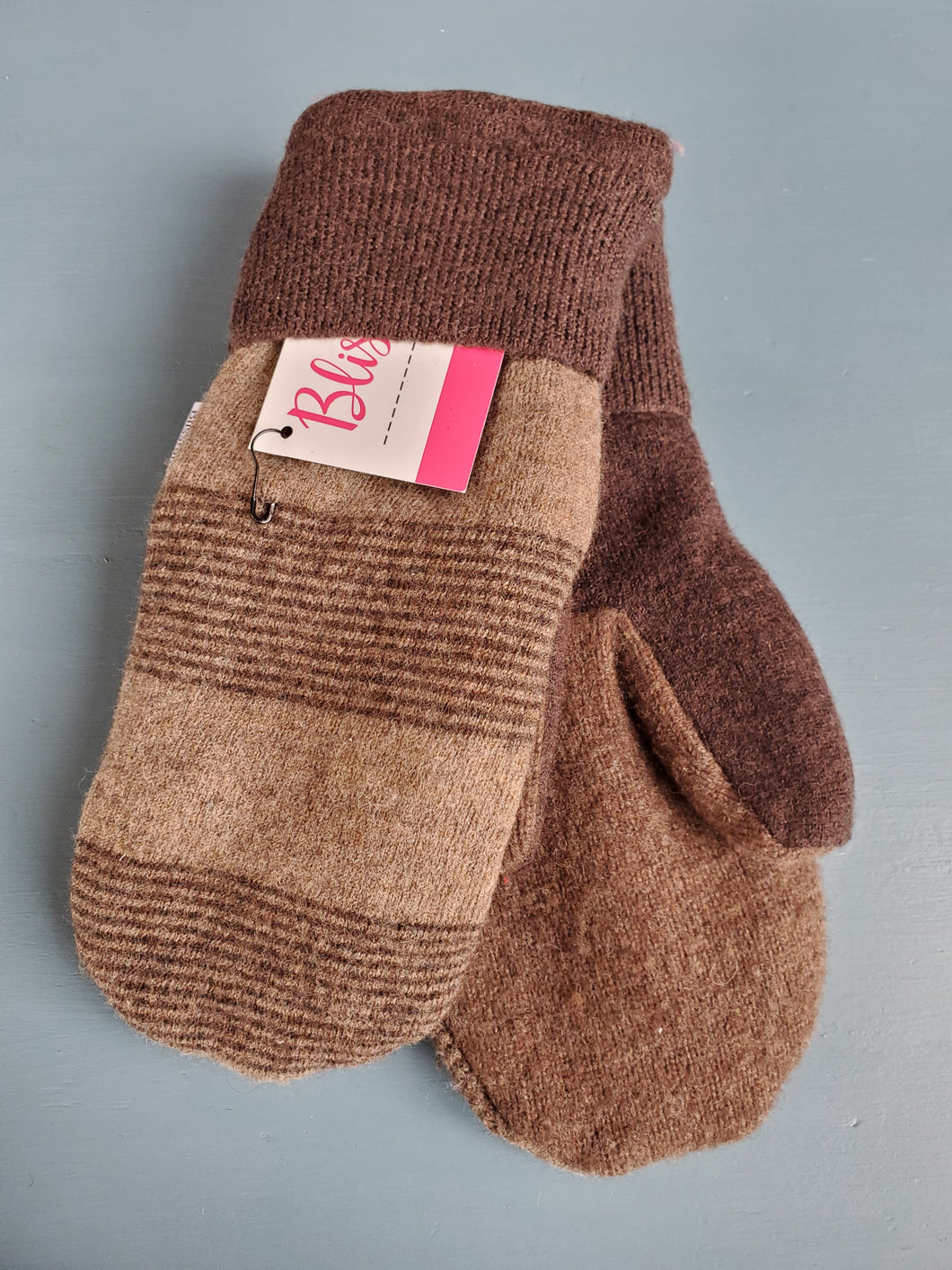 Wool Sweater Mittens - Chocolate Brown Stripes