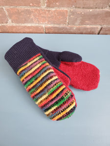 Wool Sweater Mittens - Fun Rainbow with black