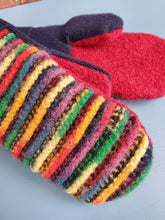Load image into Gallery viewer, Wool Sweater Mittens - Fun Rainbow with black