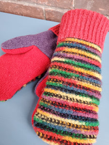 Wool Sweater Mittens - Fun Rainbow with Red/Purple