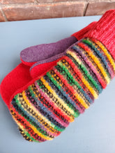 Load image into Gallery viewer, Wool Sweater Mittens - Fun Rainbow with Red/Purple