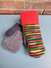 Load image into Gallery viewer, Wool Sweater Mittens - Fun Rainbow with Multi colors