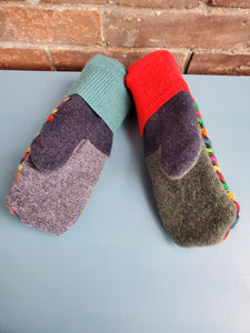 Wool Sweater Mittens - Fun Rainbow with Multi colors