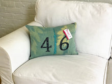 Load image into Gallery viewer, Modern aqua and cream pillow with navy 416 and teal CN Tower