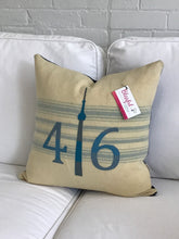 Load image into Gallery viewer, Felted Wool Blanket Pillow - Cream background with robins egg blue multi stripes. Coordinating blue and grey numbers and grey CN Tower.