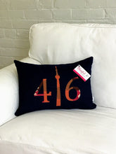 Load image into Gallery viewer, Dark navy denim front and back pillow with cranberry pink, brown and rust numbers and CN Tower.