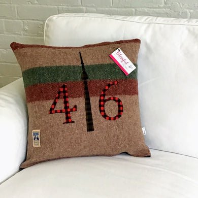 Felted Wool Blanket Pillow - Light brown background with thick maroon and moss green stripes with red plaid numbers and chocolate brown and moss green check CN Tower.  Incorporates the original blanket