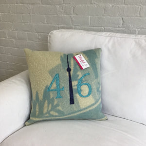 Felted Wool Blanket Pillow - Robins egg blue and cream modern background with teal patterned numbers and mottled navy CN Tower.