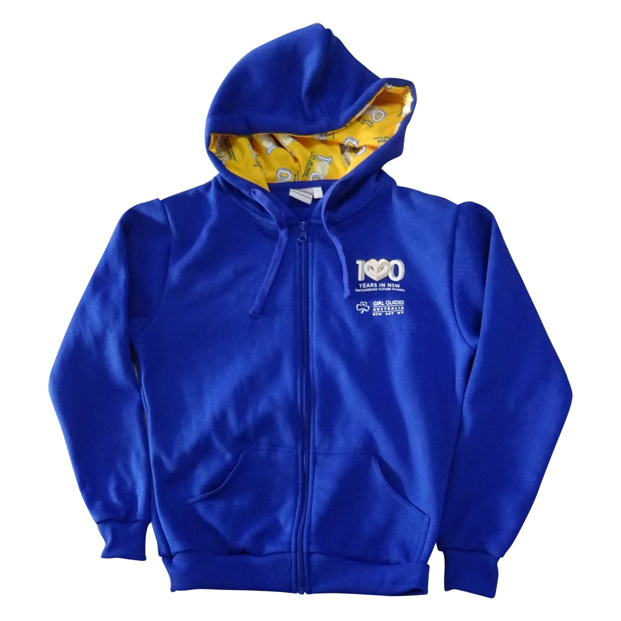 Blue Zip Hoodie with Centenary Logo