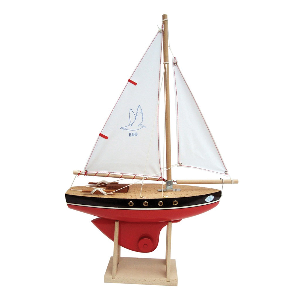 Wooden Sailing Boat Red 500