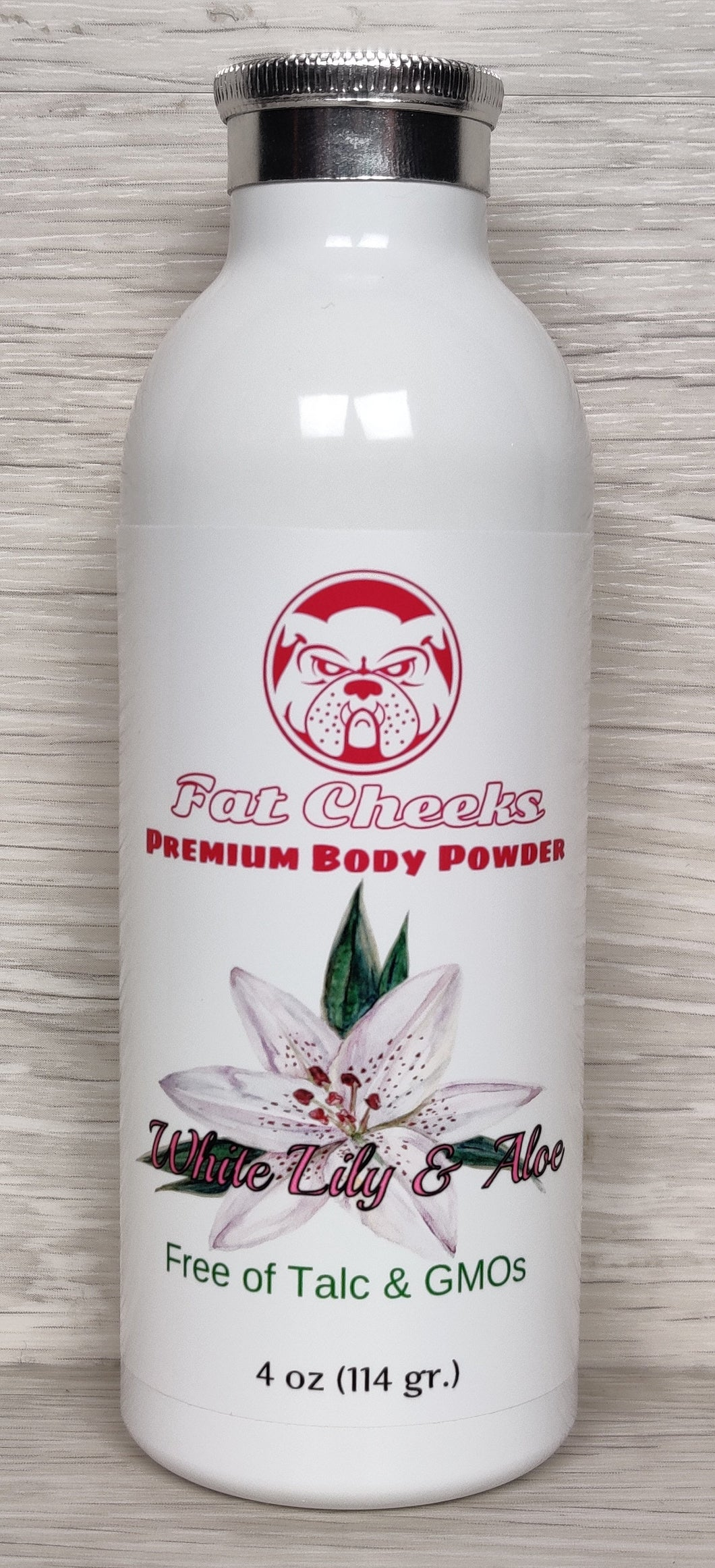White Lily & Aloe Fat Cheeks talc free Body Powder, Ball Powder, Foot Powder, Dry Shampoo, barbershop and spray tan dry down powder