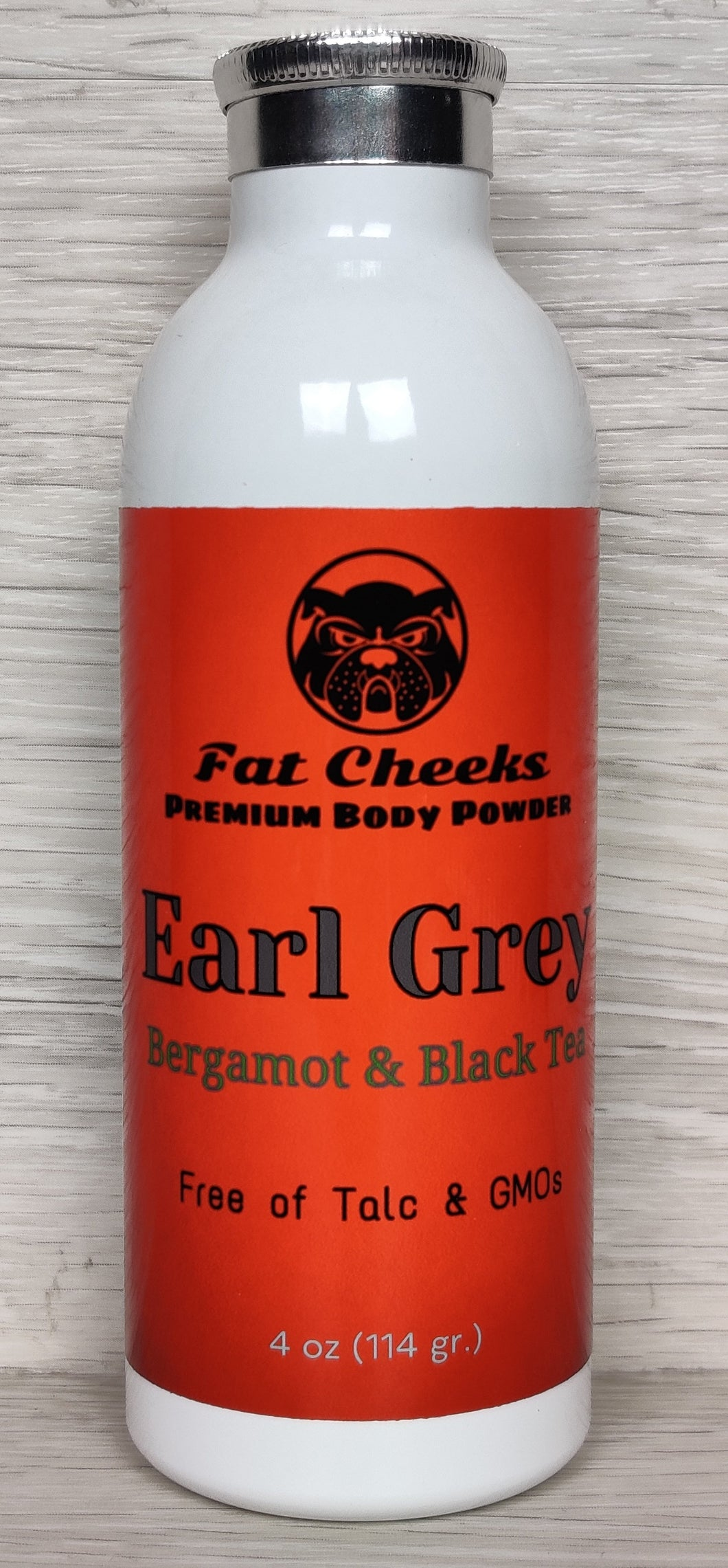 Earl Grey Black Tea and Bergamot Fat Cheeks talc free Body Powder, Ball Powder, Foot Powder, Dry Shampoo, barbershop and spray tan dry down powder