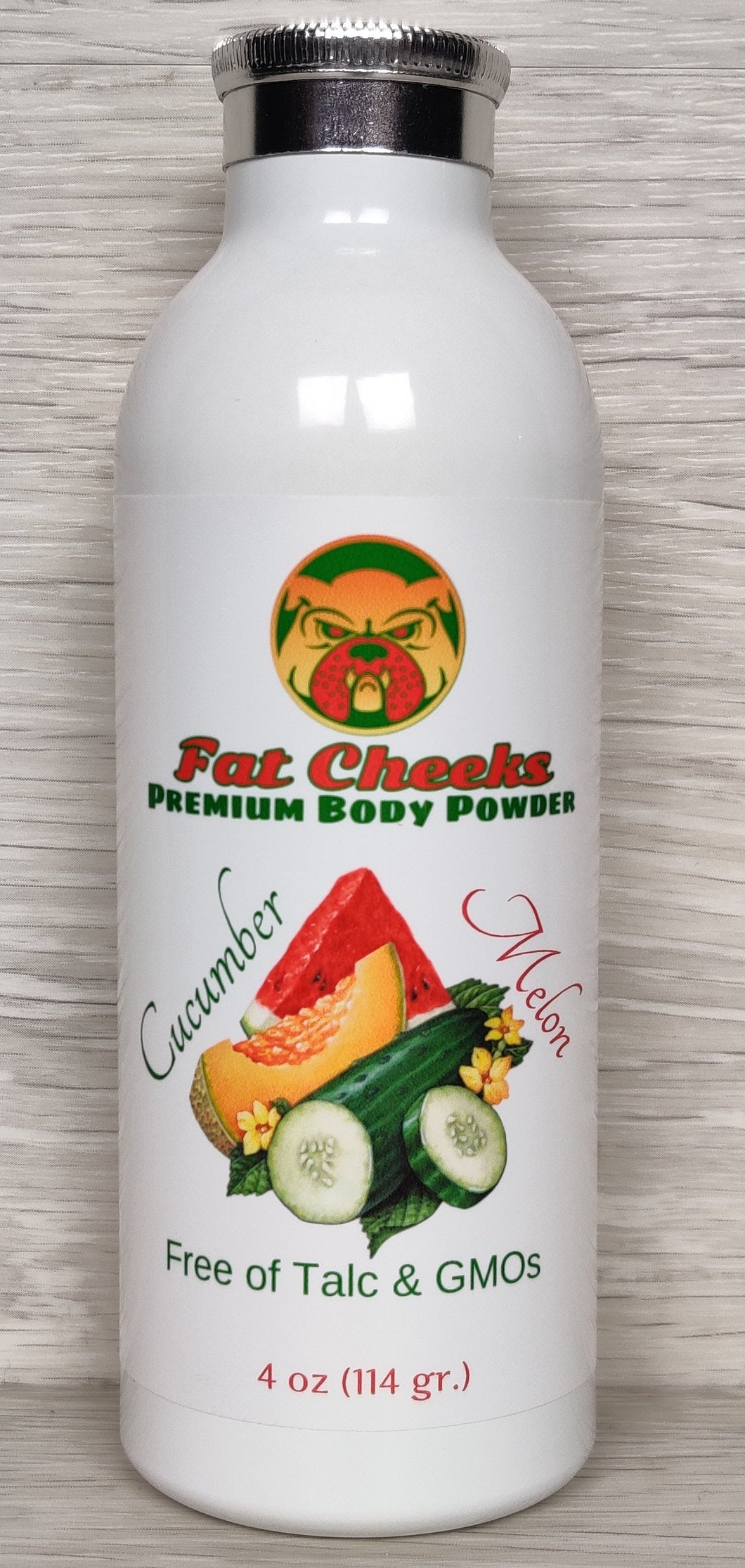 Cucumber Melon Fat Cheeks talc free Body Powder, Ball Powder, Foot Powder, Dry Shampoo, barbershop and spray tan dry down powder