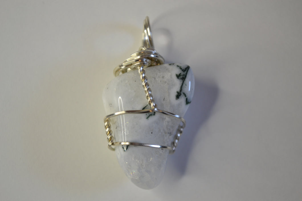 Tumbled Tree Agate w/ Silver Plated Wire