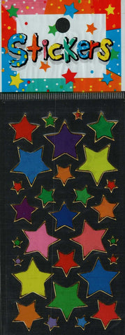 Full Color Sticker Sheet -  Multicolor Large Stars 29 pc