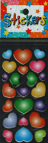 Full Color Sticker Sheet -  Colorful Hearts 22 pc