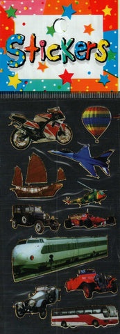 Full Color Sticker Sheet -  Planes, Trains, and Automobiles