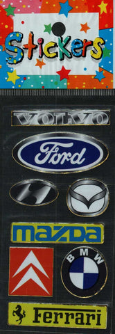 Full Color Sticker Sheet -  Car Brands and Logos (w/ BMW)