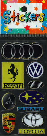 Full Color Sticker Sheet -  Car Brands and Logos (w/ Audi)