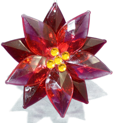 4.33 In. Acrylic Poinsettia Or - Red