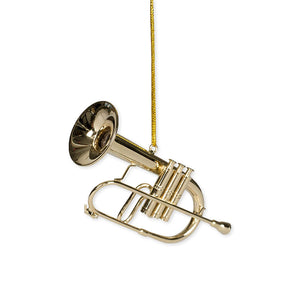 Gold Brass Flugelhorn Ornament - 3""