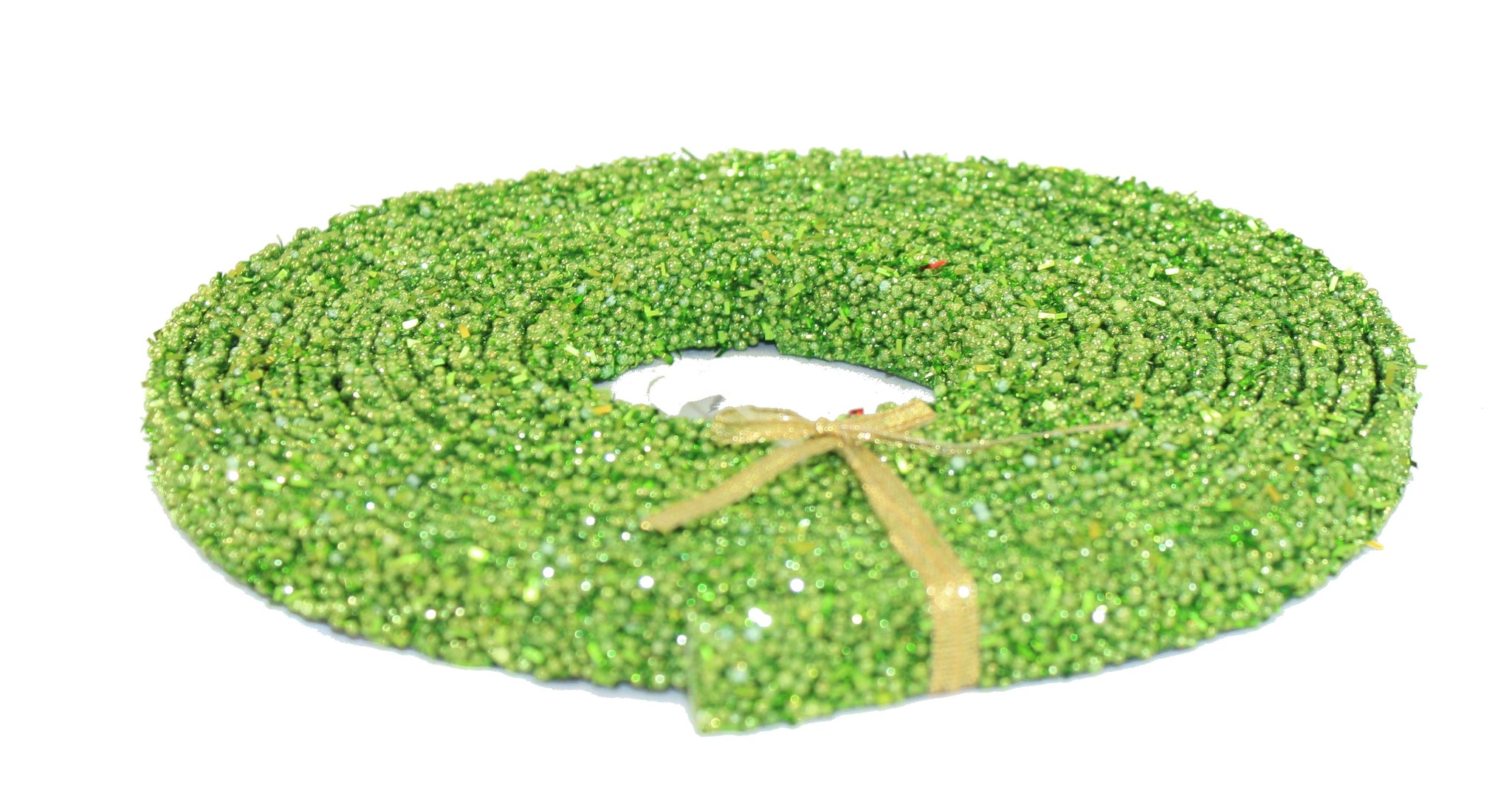 Regency 15 Foot Plastic Beaded Glitter Strap Garland (Apple Green)