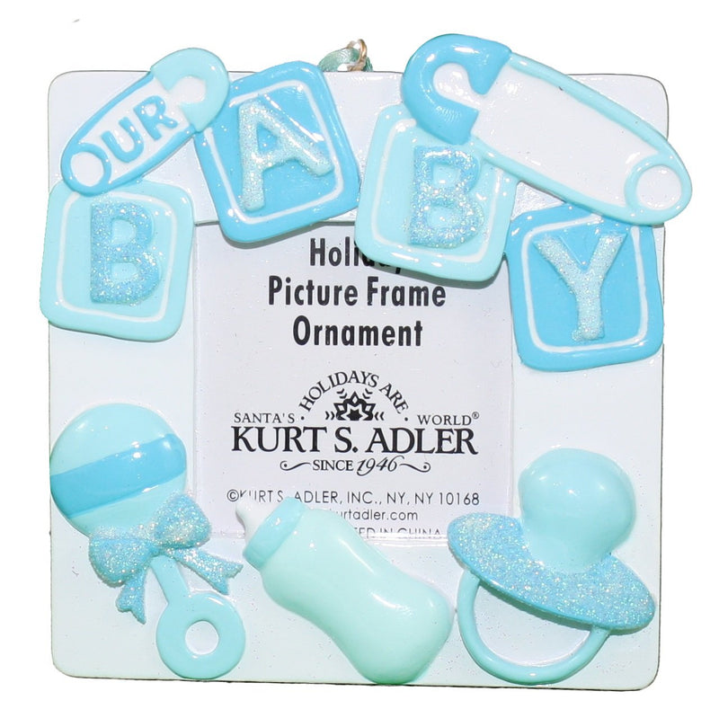 4 Inch Our Baby Photo Frame Ornament - Pink