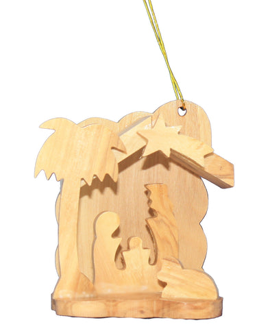 Solid Olive Wood Nativity Ornament