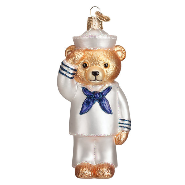 Old World Christmas Navy Bear Glass Blown Ornament