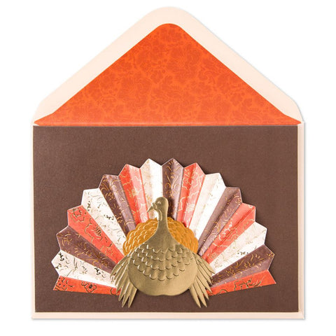 Turkey With Pleated Tail  Thanksgiving  Card