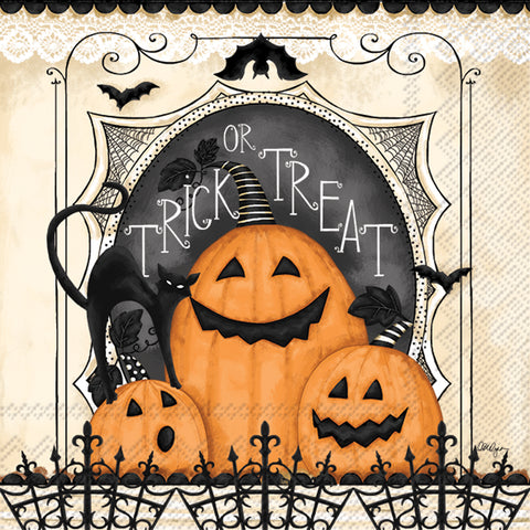 Trick or Treat Pumpkin Cocktail Napkin