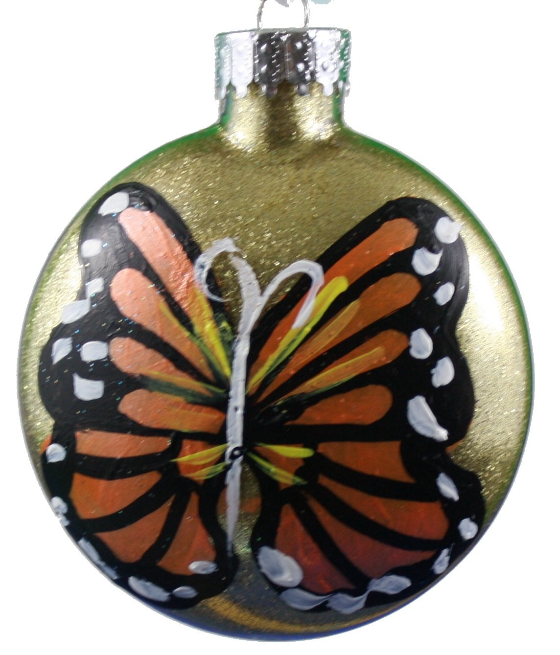 Hand Painted Glass Butterfly Ornament