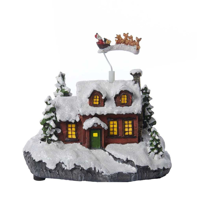 Kurt Adler Battery Operated Musical Led House With Flying Santa, 7.5-Inch