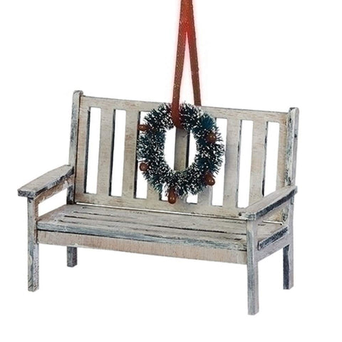 Christmas Bench Ornament with Wreath