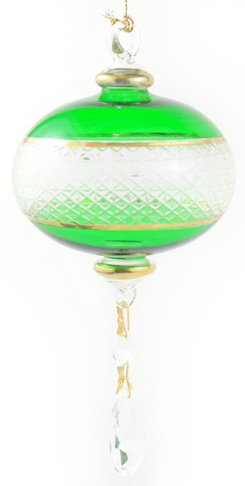 Full Size Etched Sphere with Dangles Ornament -  Christmas Green